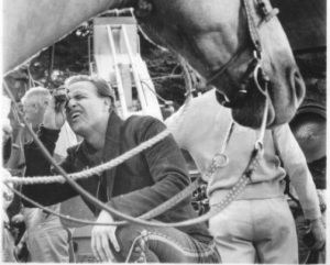 Moose with Marlon Brando on the set of One Eyed Jacks